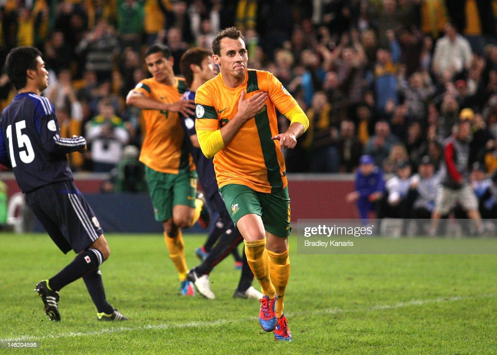 Luke Wilkshire of Australia celebrates after scoring a goal during the FIFA World Cup Asian Qualifier match between the Australian Socceroos and Japan at Suncorp Stadium on June 12, 2012 in Brisbane, Australia.