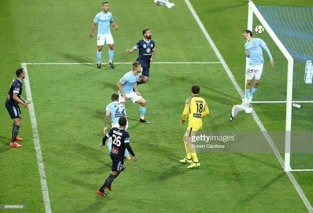 Luke Wilkshire of Sydney FC scores during the round five A-League match between Melbourne City FC and Sydney FC at AAMI Park on November 3, 2017 in Melbourne, Australia.