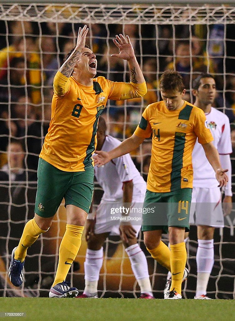 Luke Wilkshire of the Socceroos reacts after missing a goal attempt during the FIFA World Cup Qualifier match between the Australian Socceroos and Jordan at Etihad Stadium on June 11, 2013 in Melbourne, Australia.