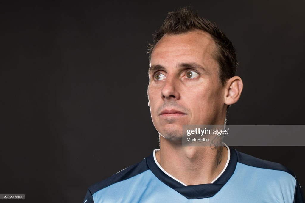 Luke Wilkshire poses during the Sydney FC A-League headshots session at Macquarie University on September 5, 2017 in Sydney, Australia.