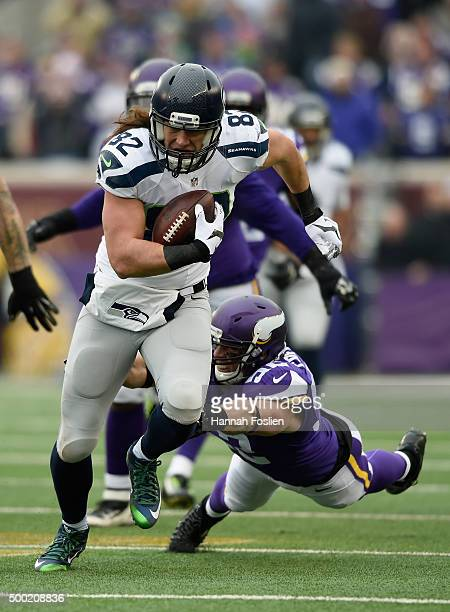 Luke Willson of the Seattle Seahawks avoids a tackle by Chad Greenway of the Minnesota Vikings during the first quarter of the game on December 6...