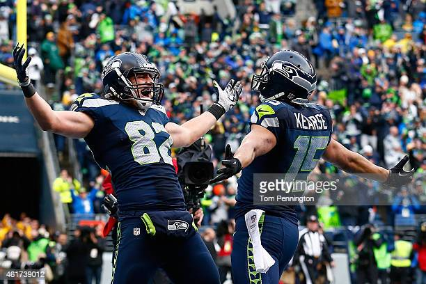 Luke Willson of the Seattle Seahawks celebrates after scoring on a two point conversion during the fourth quarter of the 2015 NFC Championship game...