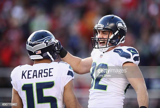 Luke Willson of the Seattle Seahawks celebrates with Jermaine Kearse after Willson caught a touchdown pass against the Seattle Seahawks at Levi's...