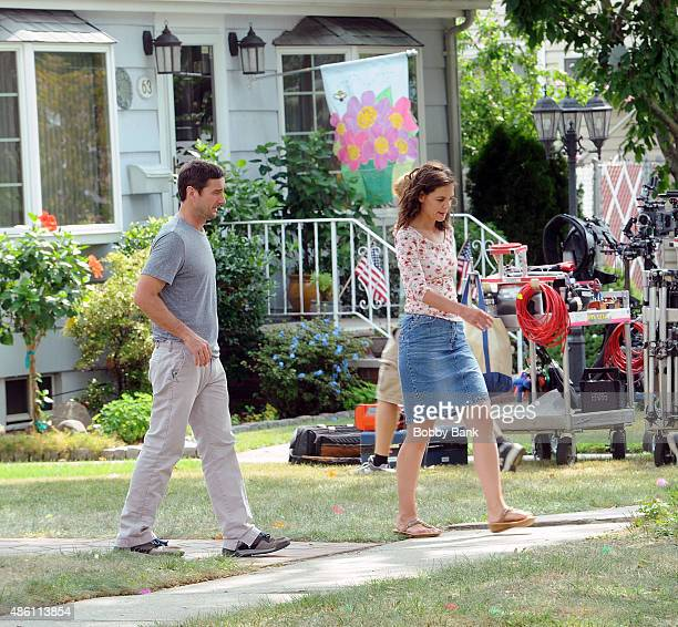 Luke Wilson and Katie Holmes on the set of 'All We Had' on August 31 2015 in New York City