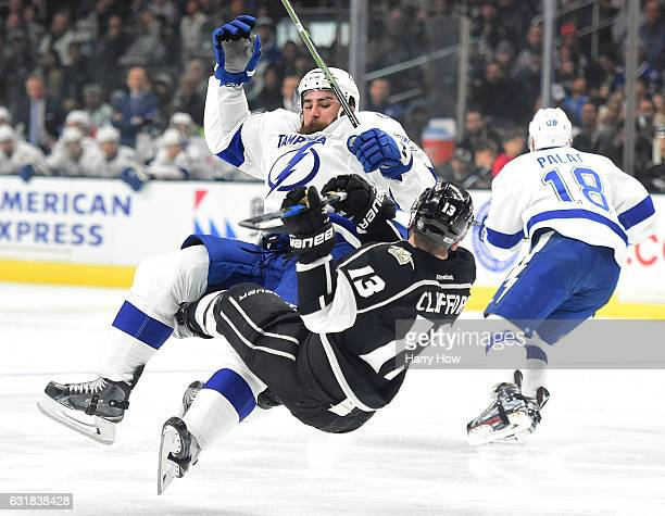 Luke Witkowski of the Tampa Bay Lightning checks Kyle Clifford of the Los Angeles Kings during the first period at Staples Center on January 16 2017...