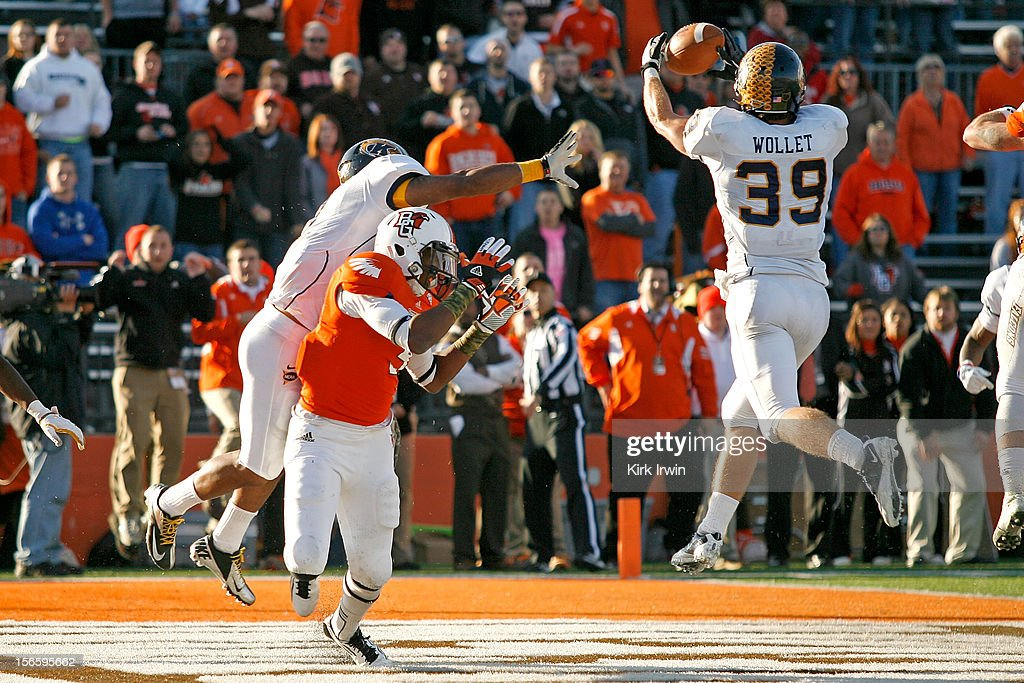 Luke Wollet #39 of the Kent State Golden Flashes intercepts a pass intended for Shaun Joplin #9 of the Bowling Green Falcons to end the game during the fourth quarter on November 17, 2012 at Doyt Perry Stadium in Bowling Green, Ohio. Kent State defeated Bowling Green 31-24.