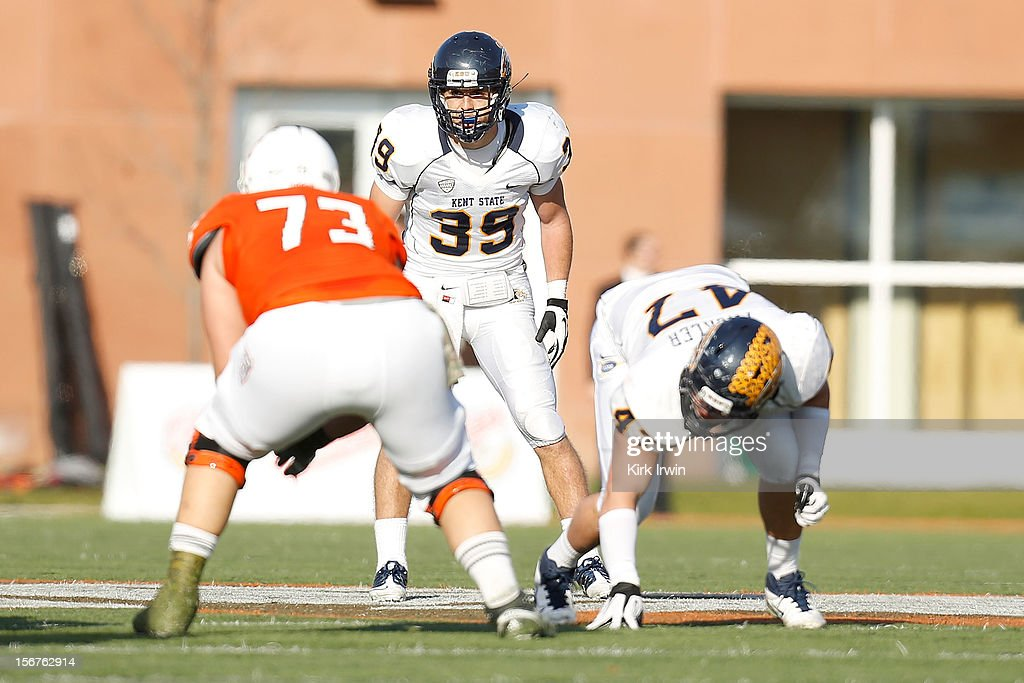 Luke Wollet #39 of the Kent State Golden Flashes lines up for a play during the game against the Bowling Green Falcons on November 17, 2012 at Doyt Perry Stadium in Bowling Green, Ohio.