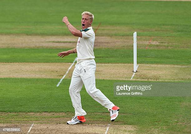 Luke Wood of Nottinghamshire celebrates the wicket of Joseph Burns of Middlesex during the LV County Championship match between Nottinghamshire and...