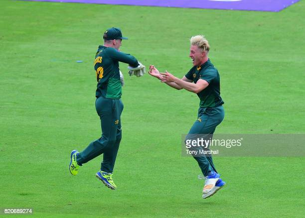 Luke Wood of Nottinghamshire Outlaws celebrates bowling out Ben Duckett of Northamptonshire Steelbacks during the NatWest T20 Blast between...