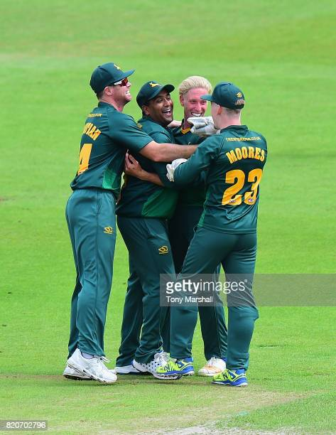 Luke Wood of Nottinghamshire Outlaws celebrates taking the wicket Rory Kleinveldt of Northamptonshire Steelbacks during the NatWest T20 Blast between...