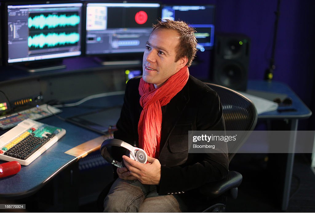 Luke Wood, president and chief operating officer of Beats Electronics LLC, reacts during a Bloomberg Television interview in London, U.K., on Thursday, Nov. 8, 2012. Beats, founded by music producer Jimmy Iovine and rapper Dr. Dre, plans over time to introduce features designed to make MOG music-streaming service easier for users to discover new bands and artists, Wood said. Photographer: Simon Dawson/Bloomberg via Getty Images