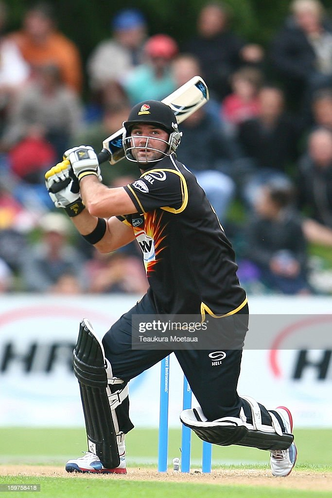 Luke Woodcock of Wellington hits to the onside during the HRV T20 Final match between the Otago Volts and the Wellington Firebirds at University Oval on January 20, 2013 in Dunedin, New Zealand.