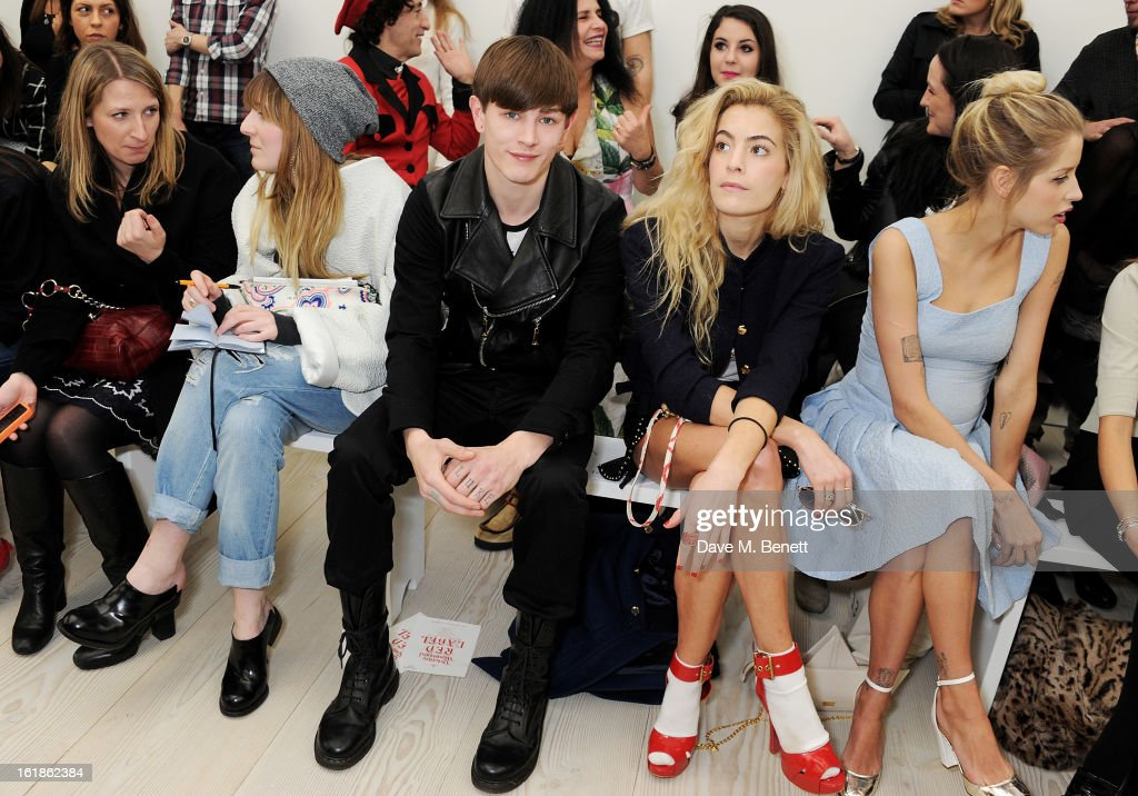 Luke Worrall, Chelsea Leyland and <a gi-track='captionPersonalityLinkClicked' href=/galleries/search?phrase=Peaches+Geldof&family=editorial&specificpeople=211378 ng-click='$event.stopPropagation()'>Peaches Geldof</a> attend the Vivienne Westwood Red Label show during London Fashion Week Fall/Winter 2013/14 at the Saatchi Gallery on February 17, 2013 in London, England.