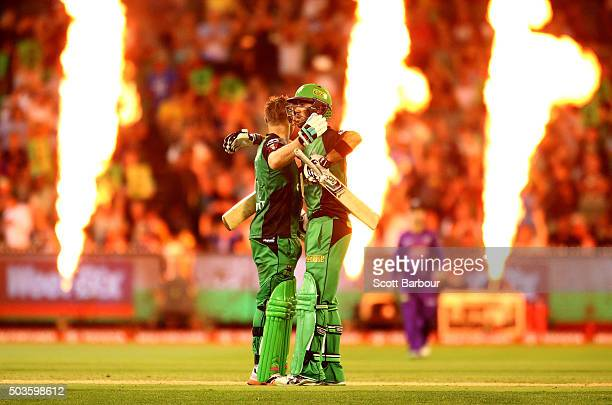 Luke Wright and Glenn Maxwell of the Stars embrace after the winning runs were hit and they won the Big Bash League match between the Melbourne Stars...