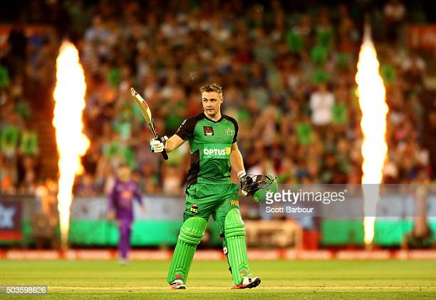 Luke Wright celebrates as he reaches his fifty during the Big Bash League match between the Melbourne Stars and the Hobart Hurricanes at the...