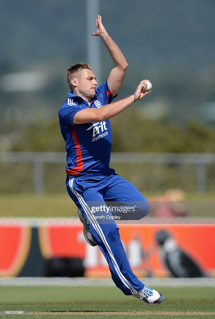 Luke Wright of England bowls during a T20 Practice Match between New Zealand XI and England at Cobham Oval on February 5, 2013 in Whangarei, New Zealand.