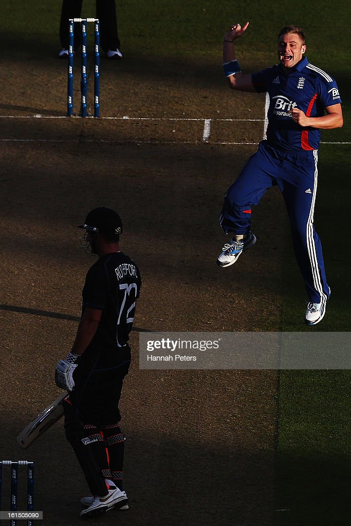 Luke Wright of England celebrates the wicket of Hamish Rutherford of New Zealand during the international Twenty20 match between New Zealand and...