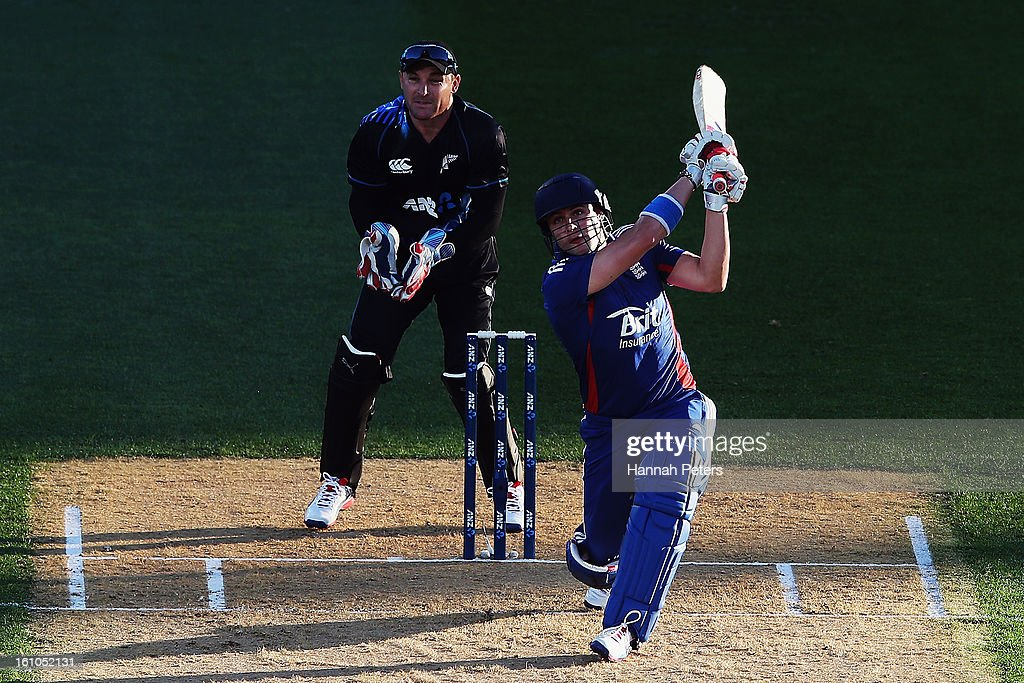 Luke Wright of England hits the ball away fro six runs during the 1st T20 International between New Zealand and England at Eden Park on February 9, 2013 in Auckland, New Zealand.