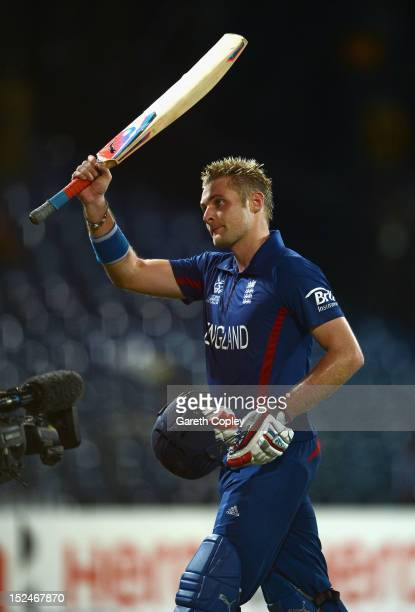 Luke Wright of England leaves the field after his innings of 99 not out during the ICC World Twenty20 2012 Group A match between England and...