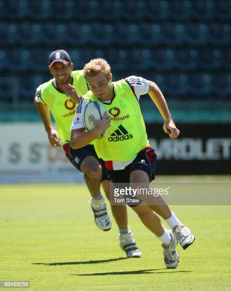 Luke Wright of England plays rugby during the England nets session at St Georges Park on on November 28 2009 in Port Elizabeth South Africa