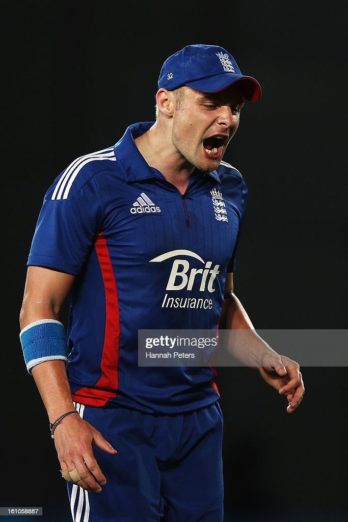Luke Wright of England shows his disappointment during the 1st T20 International between New Zealand and England at Eden Park on February 9, 2013 in Auckland, New Zealand.