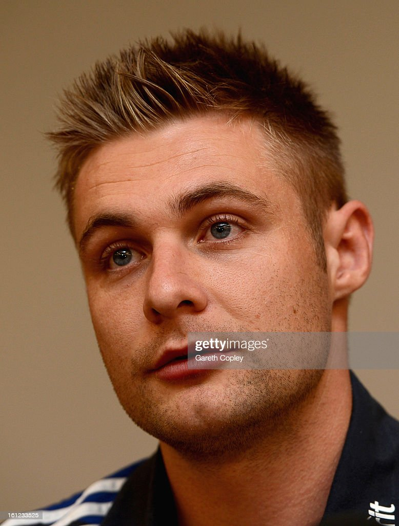 Luke Wright of England speaks to the media during an England team press conference at the team hotel on February 10, 2013 in Auckland, New Zealand.