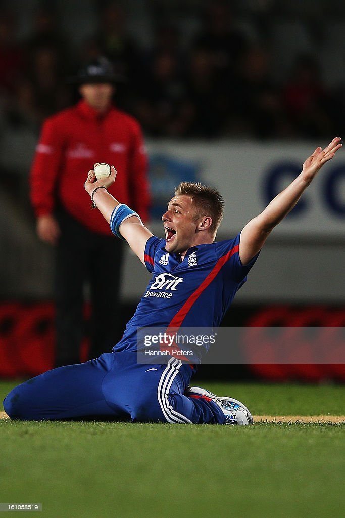 Luke Wright of England unsucessfully appeals for a wicket during the 1st T20 International between New Zealand and England at Eden Park on February 9, 2013 in Auckland, New Zealand.