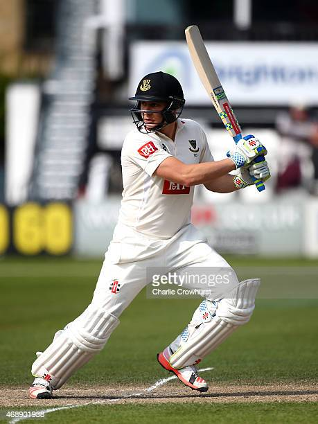Luke Wright of Sussex hits out during day two of the friendly match between Sussex and Surrey at The BrightonandHoveJobscom County Ground on April 07...