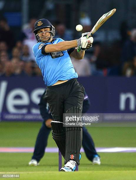 Luke Wright of Sussex hits out during the Natwest T20 Blast match between Sussex Sharks and Kent Spitfires at TheBrightonAndHoveJobscom County Ground...