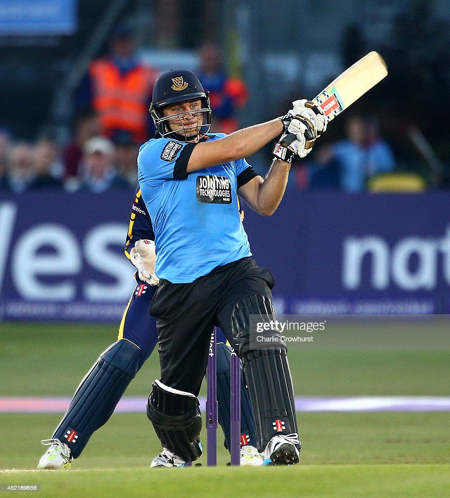 Luke Wright of Sussex hits out during the Natwest T20 Blast match between Sussex Sharks and Glamorgan at The BrightonAndHoveJobs.com County Ground on July 15, 2014 in Hove, England.