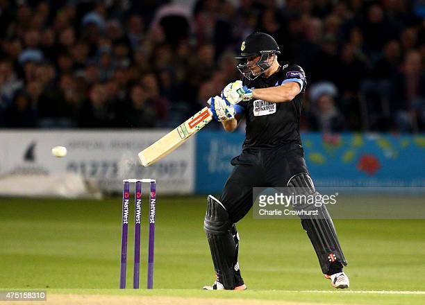 Luke Wright of Sussex hits out during the Natwest T20 Blast match between Sussex and Middlesex at The BrightonandHoveJobscom County Ground on May 29...