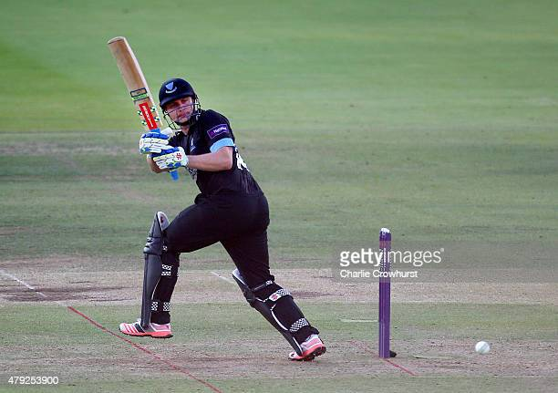 Luke Wright of Sussex hits out during the NatWest T20 Blast match between Middlesex and Sussex at Lord's Cricket Ground on July 02 2015 in London...