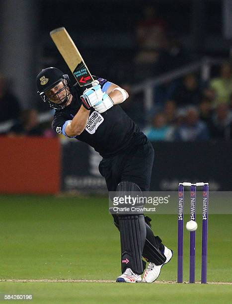 Luke Wright of Sussex hits out during the NatWest T20 Blast match between Sussex and Glamorgan at The 1st Central County Ground on July 28 2016 in...