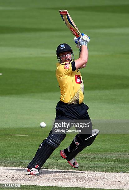 Luke Wright of Sussex hits out during the Royal London OneDay Cup match between Sussex and Nottinghamshire at The BrightonandHoveJobscom County...