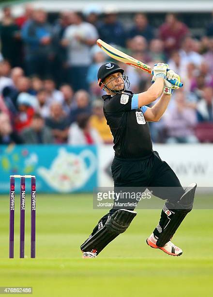 Luke Wright of Sussex hits out during the T20 Blast match between Sussex Sharks and Essex Eagles at BrightonandHoveJobscom County Ground on June 12...
