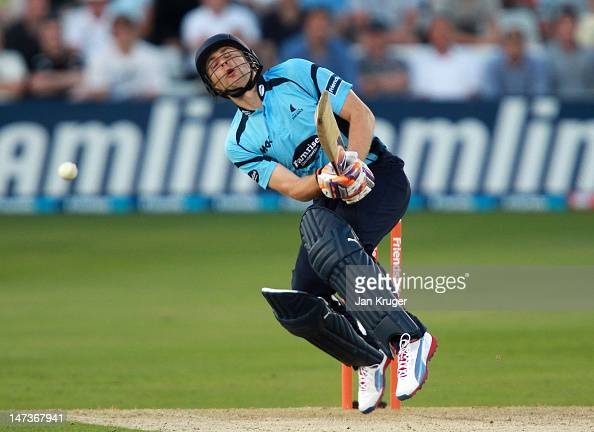 Luke Wright of Sussex is struck by the ball during the Friends Life T20 match between Essex and Sussex at Ford County Ground on June 28 2012 in...