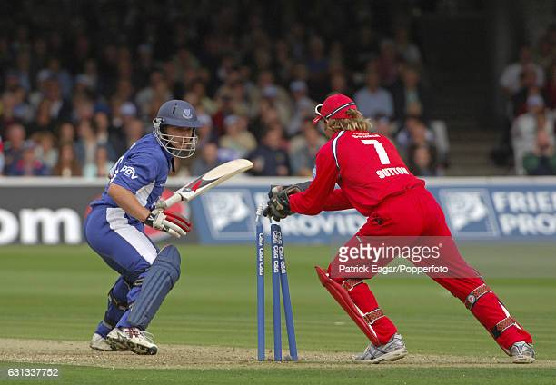 Luke Wright of Sussex is stumped by Lancashire wicketkeeper Luke Sutton during the Cheltenham Gloucester Trophy Final between Lancashire and Sussex...