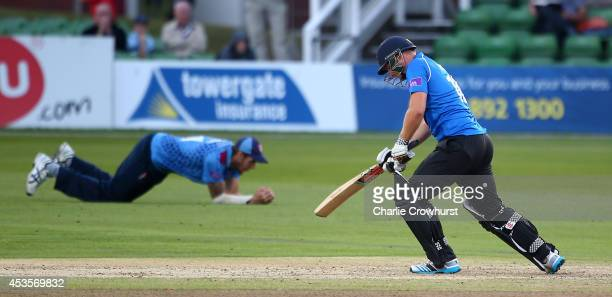 Luke Wright of Sussex looks on dejected after being caught out by Kent's Ben Harmison during Royal London OneDay Cup match between Kent Spitfires and...