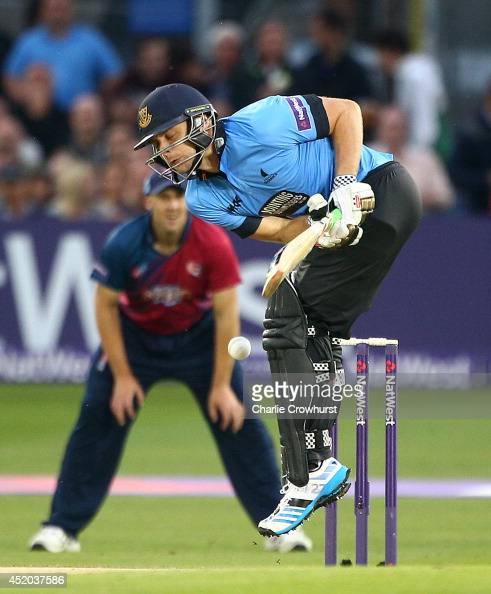 Luke Wright of Sussex reacts after being hit in the body by the ball during the Natwest T20 Blast match between Sussex Sharks and Kent Spitfires at...