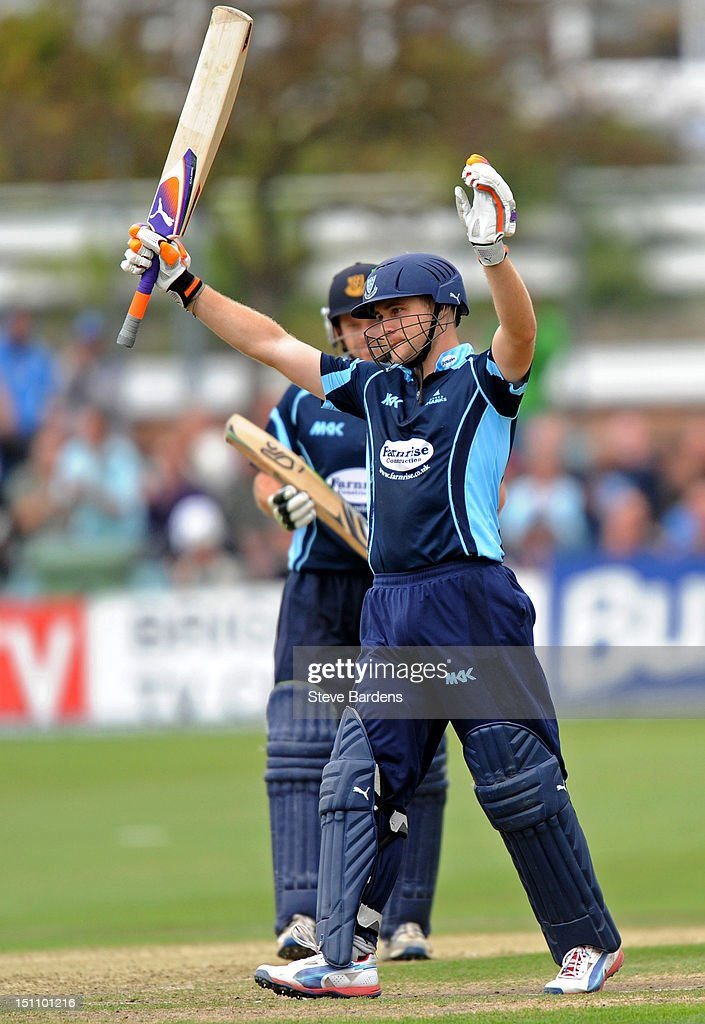Luke Wright of Sussex Sharks acknowledges the crowd as he makes a century during the Clydesdale Bank Pro40 semi final match between Sussex and Hampshire at the Probiz County Ground on September 1, 2012 in Hove, England.