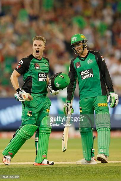 Luke Wright of the Melbourne Stars celebrates after scoring 100 runs during the Big Bash League match between the Melbourne Stars and the Melbourne...