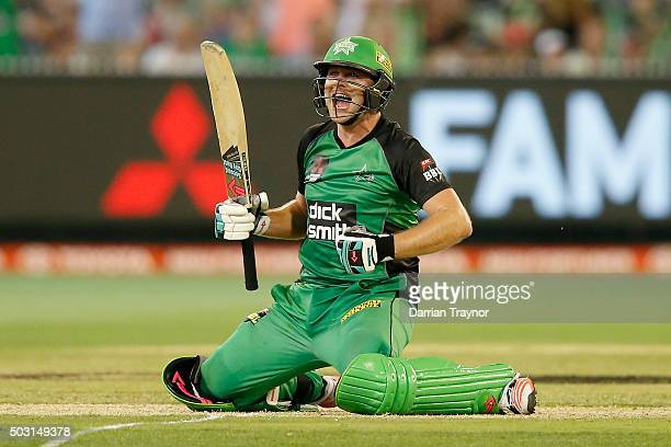 Luke Wright of the Melbourne Stars celebrates hitting the winning runs during the Big Bash League match between the Melbourne Stars and the Melbourne...