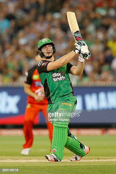 Luke Wright of the Melbourne Stars hits a 6 to bring up his century during the Big Bash League match between the Melbourne Stars and the Melbourne...