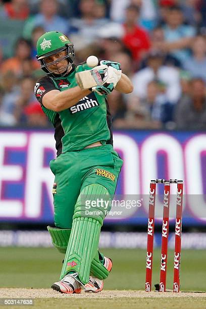 Luke Wright of the Melbourne Stars hits the ball during the Big Bash League match between the Melbourne Stars and the Melbourne Renegades at...