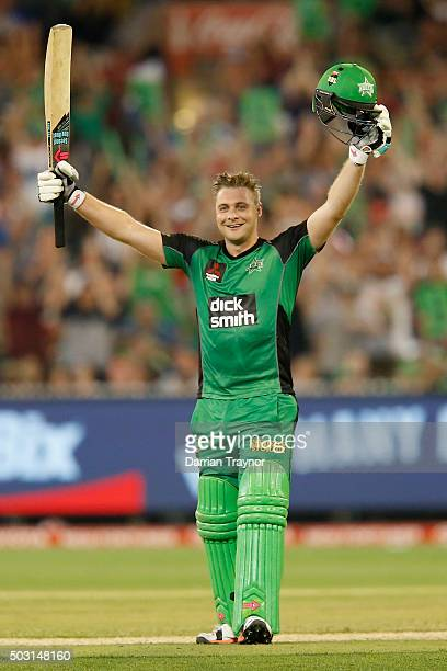 Luke Wright of the Melbourne Stars raises his bat after scoring 100 runs during the Big Bash League match between the Melbourne Stars and the...