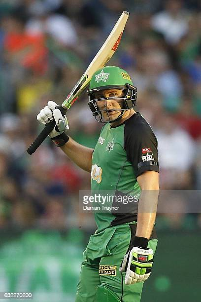 Luke Wright of the Melbourne Stars raises his bat after scoring 50 runs during the Big Bash League match between the Melbourne Stars and the Sydney...
