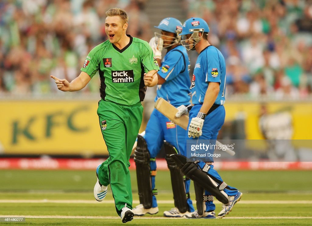 Luke Wright of the Stars celebrates his dismissal of Shakib Al-Hassan of the Strikers during the Big Bash League match between the Melbourne Stars and the Adelaide Strikers at the Melbourne Cricket Ground on January 9, 2014 in Melbourne, Australia.