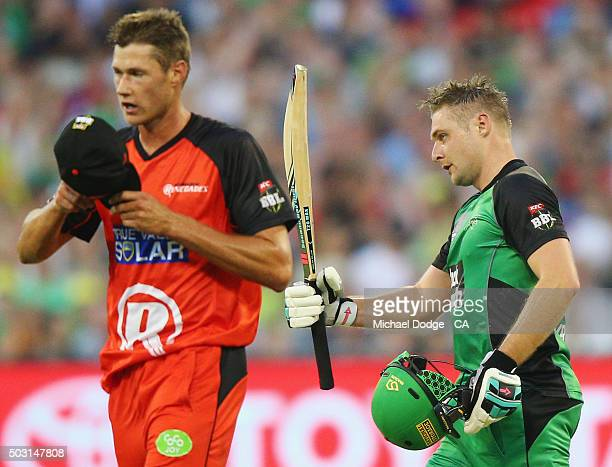 Luke Wright of the Stars celebrates his half century next to bowler Chris Tremain of the Renegades during the Big Bash League match between the...