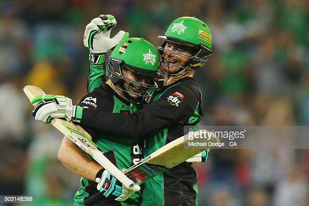 Luke Wright of the Stars celebrates hitting the winning runs as teammate Peter Handscomb hugs him during the Big Bash League match between the...