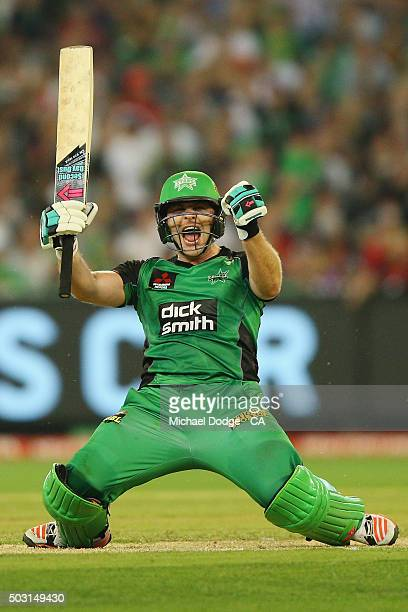 Luke Wright of the Stars celebrates hitting the winning runs during the Big Bash League match between the Melbourne Stars and the Melbourne Renegades...
